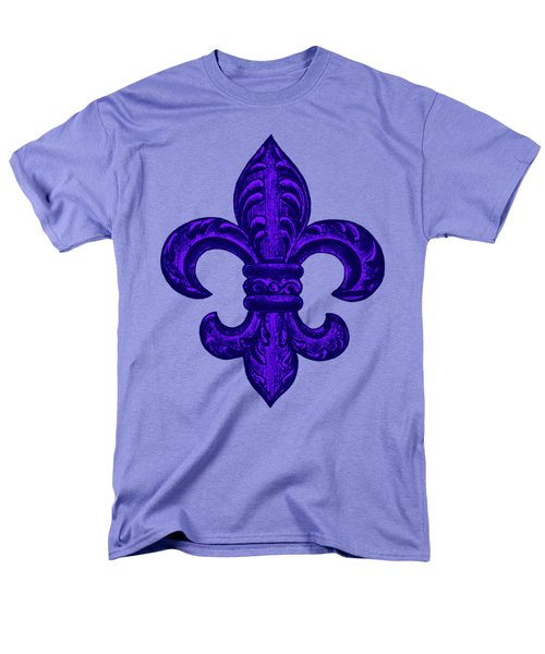 Purple French Fleur De Lys, Floral Swirls Men's T-Shirt  (Regular Fit) by Tina Lavoie