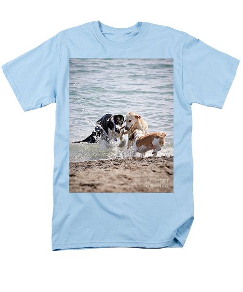 Three dogs playing on beach T-Shirt by Elena Elisseeva
