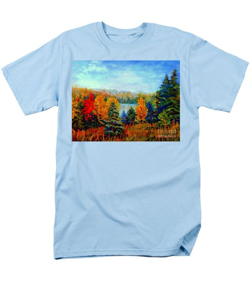 AUTUMN LANDSCAPE QUEBEC RED MAPLES AND BLUE SPRUCE TREES T-Shirt by CAROLE SPANDAU
