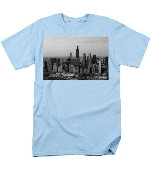 Chicago Looking West 01 Black and White T-Shirt by Thomas Woolworth