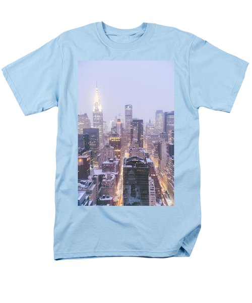 Chrysler Building And Skyscrapers Covered In Snow - New York City Men's T-Shirt  (Regular Fit) by Vivienne Gucwa