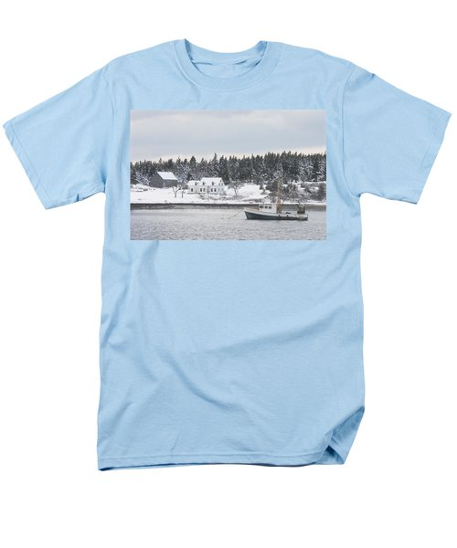 Fishing Boat After Snowstorm in Port Clyde Harbor Maine T-Shirt by Keith Webber Jr