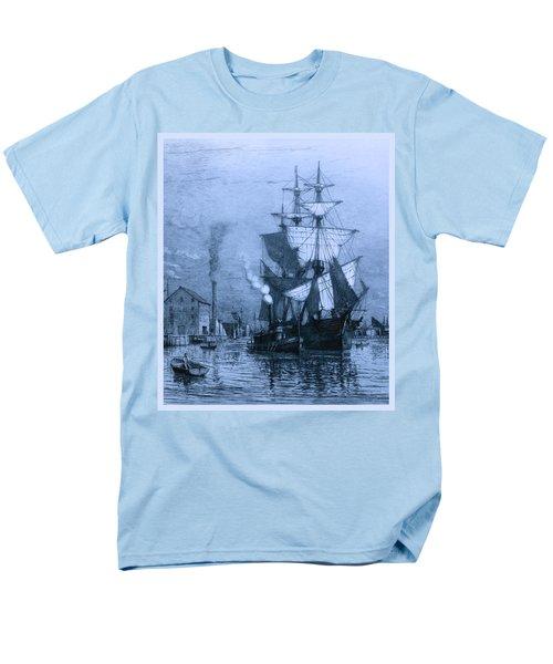 Historic Seaport Blue Schooner T-Shirt by John Stephens