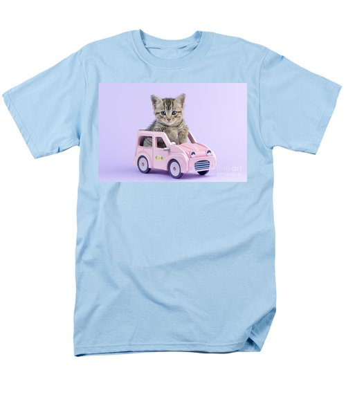 Kitten in Pink Car  T-Shirt by Greg Cuddiford