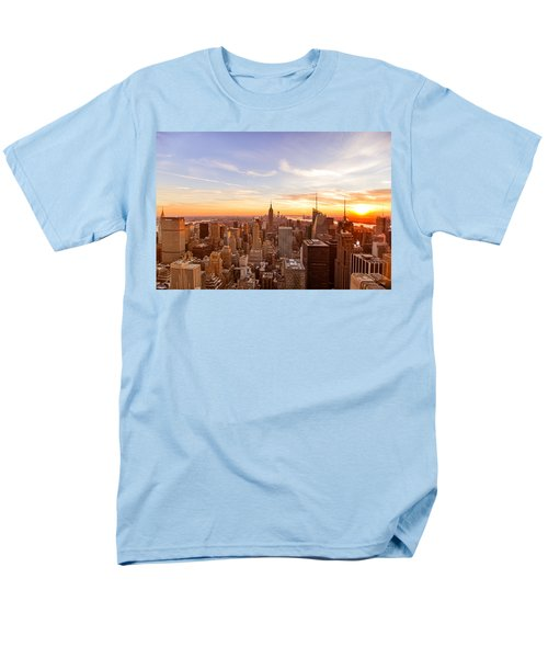 New York City - Sunset Skyline Men's T-Shirt  (Regular Fit) by Vivienne Gucwa