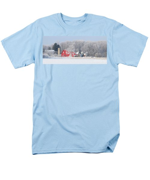 Red Barn Frosty Morning Panorama1 Men's T-Shirt  (Regular Fit) by Jack Schultz