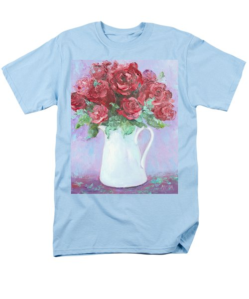 Red Roses in white jug T-Shirt by Jan Matson