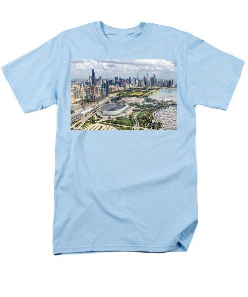 Soldier Field And Chicago Skyline Men's T-Shirt  (Regular Fit) by Adam Romanowicz