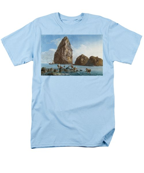 View Of The Rocks On The Third Island Of Cyclops Men's T-Shirt  (Regular Fit) by Jean-Pierre-Louis-Laurent Houel