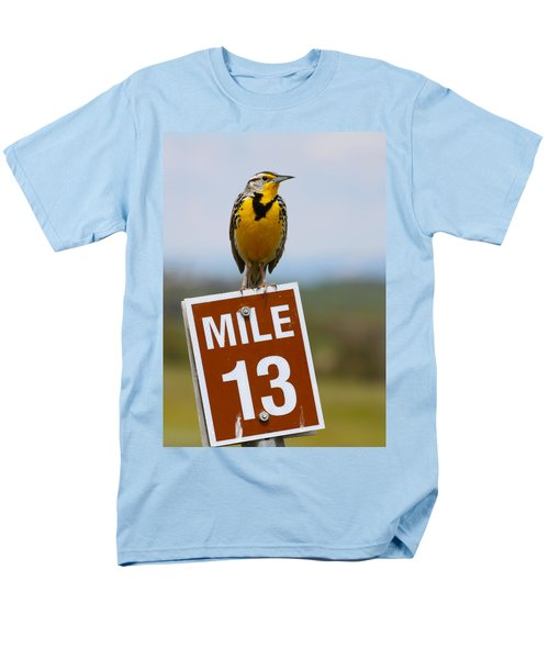 Western Meadowlark On The Mile 13 Sign Men's T-Shirt  (Regular Fit) by Karon Melillo DeVega