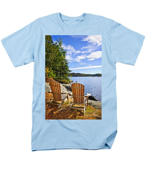 Adirondack chairs at lake shore T-Shirt by Elena Elisseeva