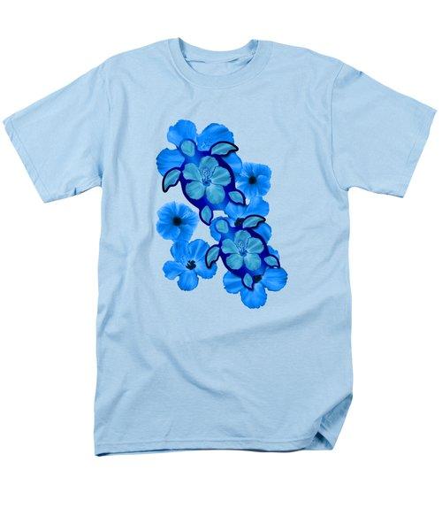 Blue Hibiscus And Honu Turtles Men's T-Shirt  (Regular Fit) by Chris MacDonald