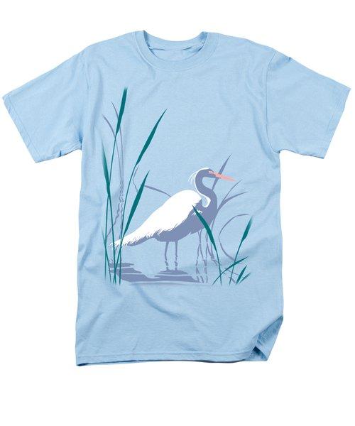 abstract Egret graphic pop art nouveau 1980s stylized retro tropical florida bird print blue gray  Men's T-Shirt  (Regular Fit) by Walt Curlee