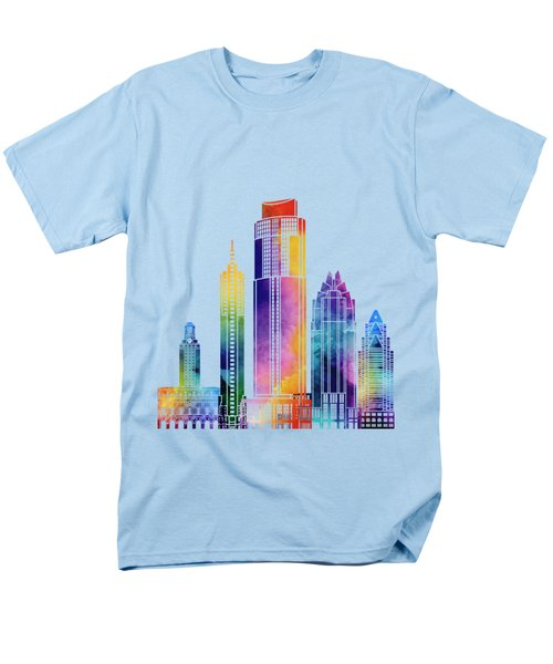 Austin Landmarks Watercolor Poster Men's T-Shirt  (Regular Fit) by Pablo Romero