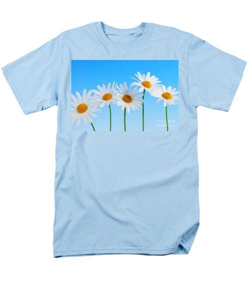 Daisy flowers on blue background T-Shirt by Elena Elisseeva