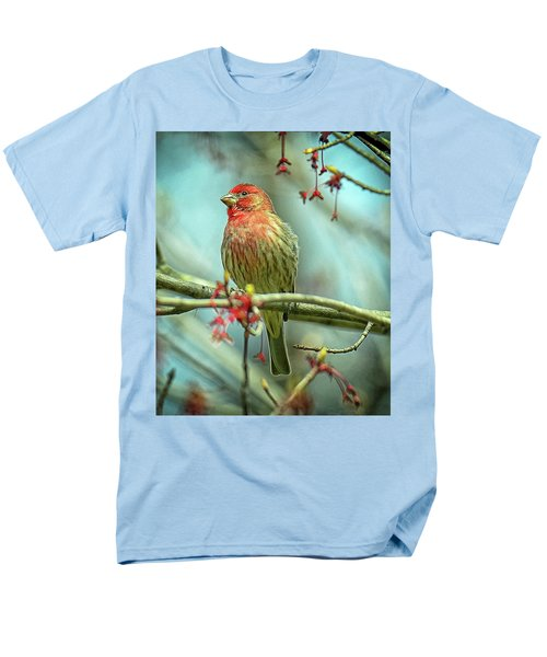 Men's T-Shirt  (Regular Fit) featuring the photograph House Finch In Spring by Rodney Campbell
