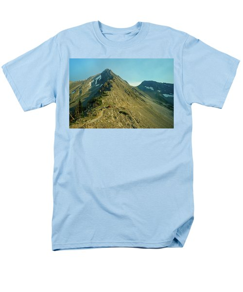 Llama Packer Hiking A Steep Rocky Mountain Peak Trail Men's T-Shirt  (Regular Fit) by Jerry Voss