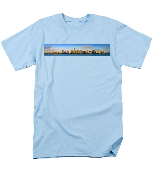 Miami Skyline In Morning Daytime Panorama Men's T-Shirt  (Regular Fit) by Jon Holiday