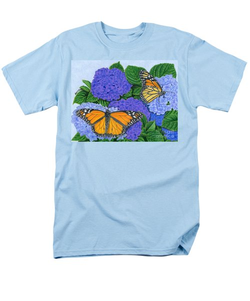 Monarch Butterflies And Hydrangeas Men's T-Shirt  (Regular Fit) by Sarah Batalka
