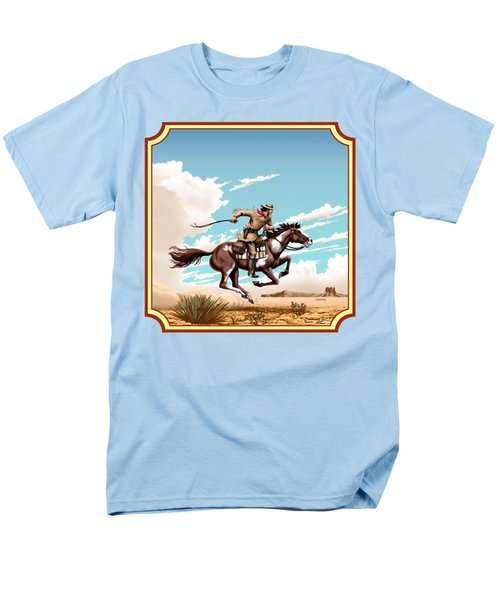 Pony Express Rider - Western Americana - Square Format Men's T-Shirt  (Regular Fit) by Walt Curlee
