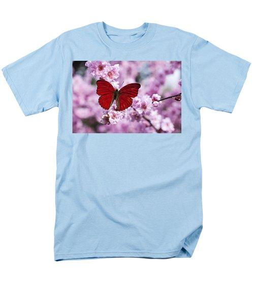 Red butterfly on plum  blossom branch T-Shirt by Garry Gay
