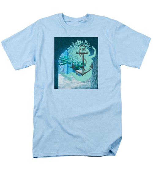 The Mermaid The Anchor And School Of Fish In The Underwater Ruins Men's T-Shirt  (Regular Fit) by Sandra McGinley