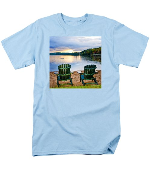 Wooden chairs at sunset on beach T-Shirt by Elena Elisseeva
