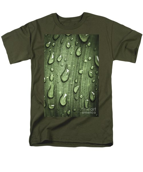 Green leaf abstract with raindrops T-Shirt by Elena Elisseeva