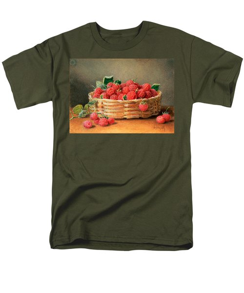 A Still Life Of Raspberries In A Wicker Basket  Men's T-Shirt  (Regular Fit) by William B Hough