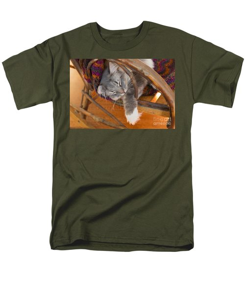 Cat asleep in a wooden rocking chair T-Shirt by Louise Heusinkveld