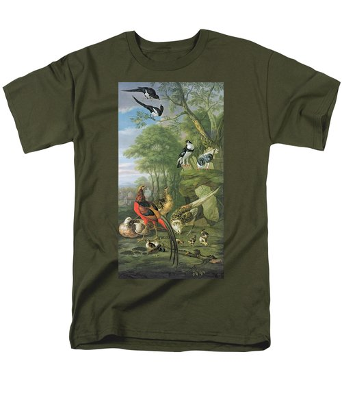 Cock Pheasant Hen Pheasant And Chicks And Other Birds In A Classical Landscape Men's T-Shirt  (Regular Fit) by Pieter Casteels