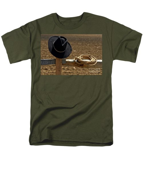 Cowboy Hat and Rope on Fence T-Shirt by Olivier Le Queinec