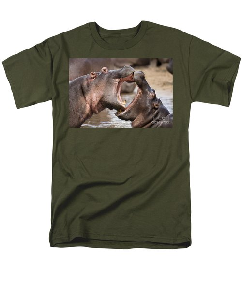Fighting Hippos Men's T-Shirt  (Regular Fit) by Richard Garvey-Williams