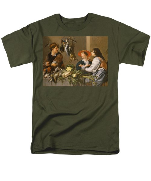 Game And Vegetable Sellers Oil On Canvas Men's T-Shirt  (Regular Fit) by Theodor Rombouts