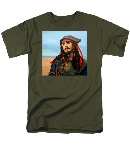 Johnny Depp As Jack Sparrow Men's T-Shirt  (Regular Fit) by Paul Meijering