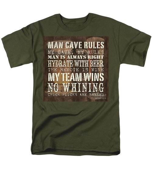 Man Cave Rules Square T-Shirt by Debbie DeWitt
