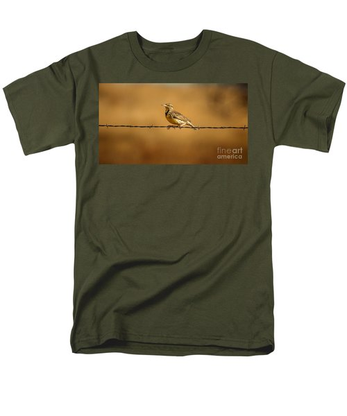 Meadowlark And Barbed Wire Men's T-Shirt  (Regular Fit) by Robert Frederick