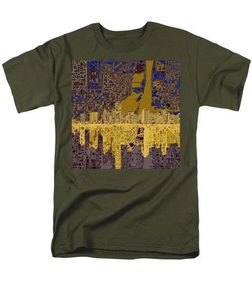 Miami Skyline Abstract 3 Men's T-Shirt  (Regular Fit) by Bekim Art