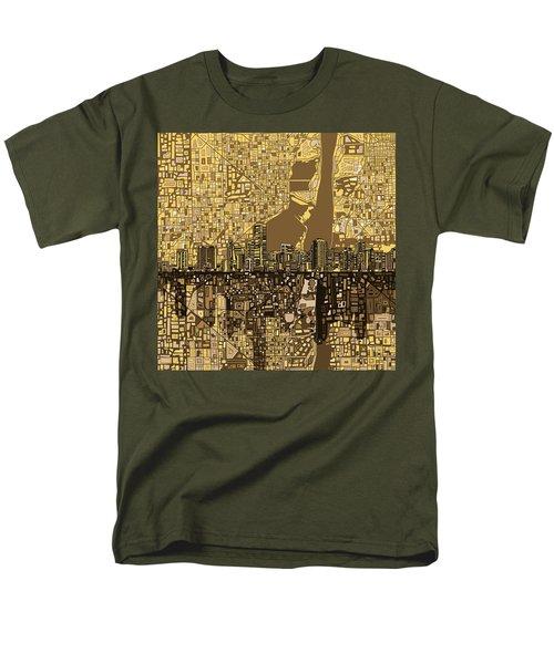 Miami Skyline Abstract 6 Men's T-Shirt  (Regular Fit) by Bekim Art