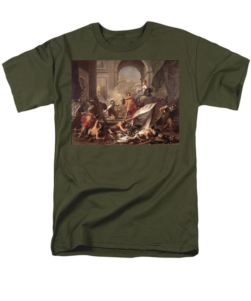 Perseus, Under The Protection Of Minerva, Turns Phineus To Stone By Brandishing The Head Of Medusa Men's T-Shirt  (Regular Fit) by Jean-Marc Nattier