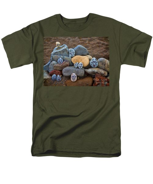 Rocky Faces In The Sand Men's T-Shirt  (Regular Fit) by David Smith