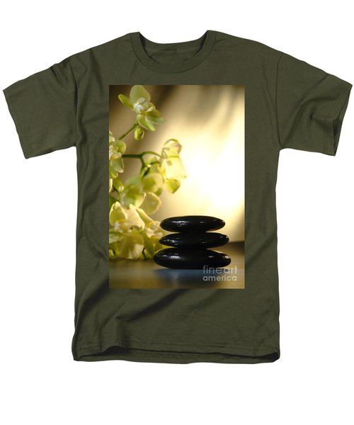 Stone Cairn and Orchids T-Shirt by Olivier Le Queinec