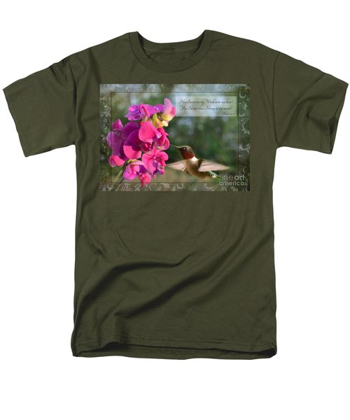 Sweet Pea Hummingbird IV with verse T-Shirt by Debbie Portwood