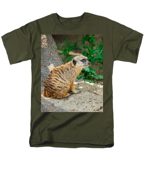 Watchful Meerkat Vertical Men's T-Shirt  (Regular Fit) by Jon Woodhams