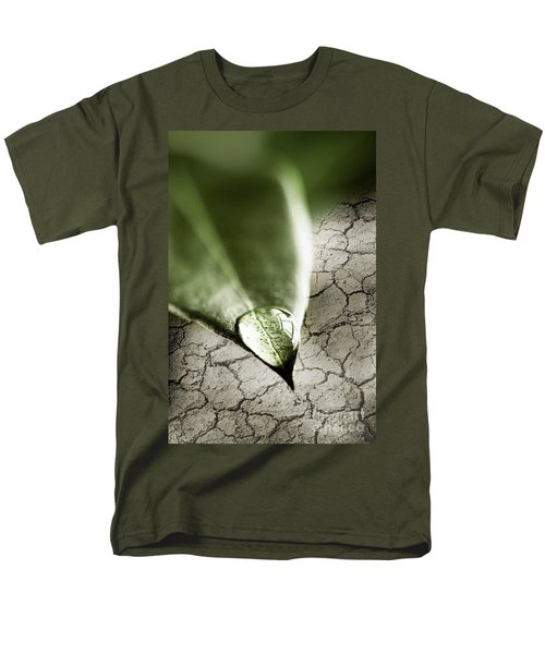 Water drop on green leaf T-Shirt by Elena Elisseeva