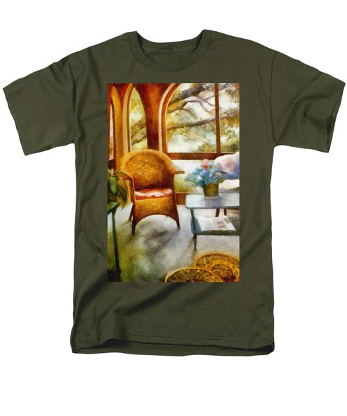 Wicker Chair and Cyclamen T-Shirt by Michelle Calkins