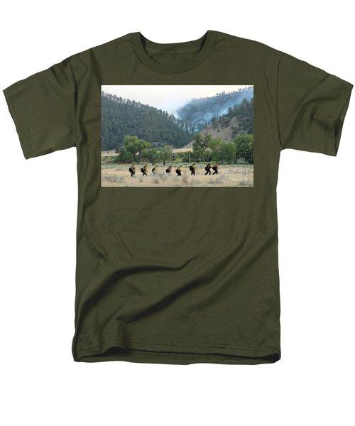 Men's T-Shirt  (Regular Fit) featuring the photograph Wyoming Hot Shots Walk To Their Assignment by Bill Gabbert