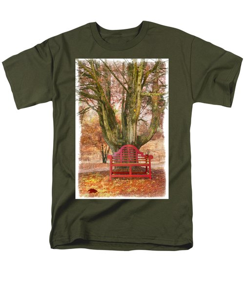 Little Red Bench T-Shirt by Debra and Dave Vanderlaan