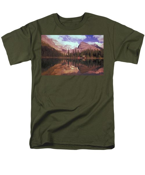 Reflection Of Cabins And Mountains In T-Shirt by Carson Ganci