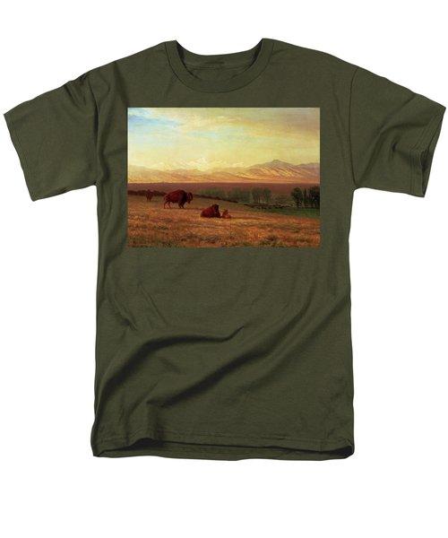 Buffalo On The Plains Men's T-Shirt  (Regular Fit) by Albert Bierstadt